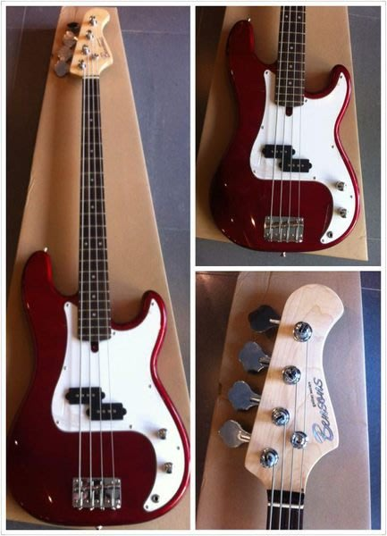 【六絃樂器】全新精選 Bensons P型 紅色電貝斯 含配件 / 現貨特價