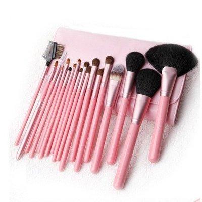 【愛來客 】美國  Cerro Qreen 天然動物毛18支專業級化妝刷彩妝刷(粉紅色)