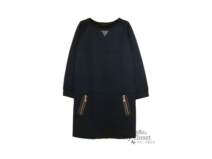 My Closet 二手名牌 LV Louis Vuitton 皮革拉鍊深藍色絲質長袖洋裝