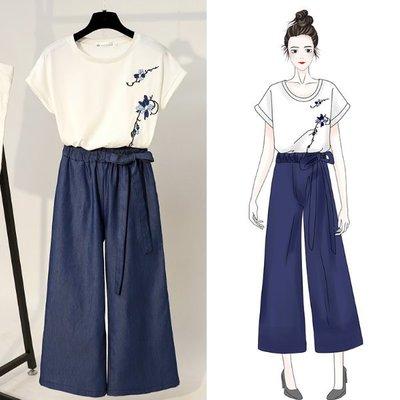褲裝 - 圓領短袖刺繡潮T搭配褲裙款  #ZH0806059