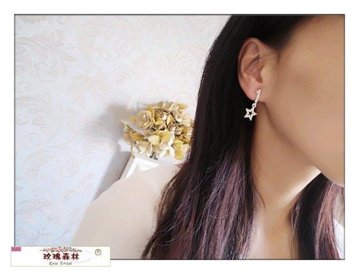 玫瑰森林-- ☆°* 美麗嚴選 ~ 縷空水鑽銀色五角星星 耳夾式無耳洞耳環(特價)