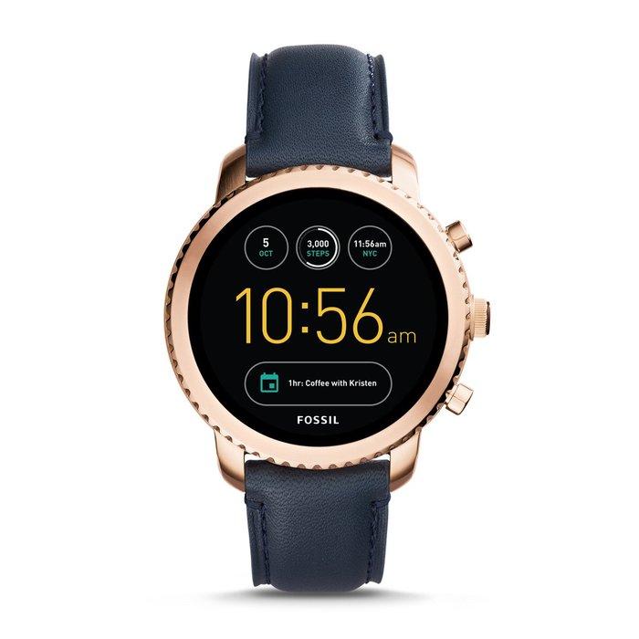 現貨一只保證正品FOSSIL 第 3 代智慧型手錶 - Q EXPLORIST 海軍藍皮革系列
