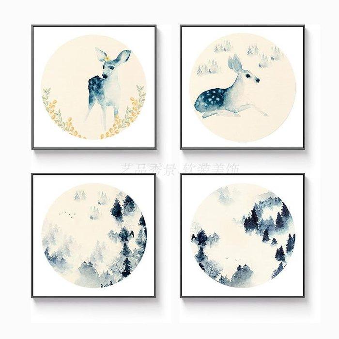 現代新中式水墨山水國畫圓形裝飾畫畫芯客廳餐廳掛畫(4款可選)