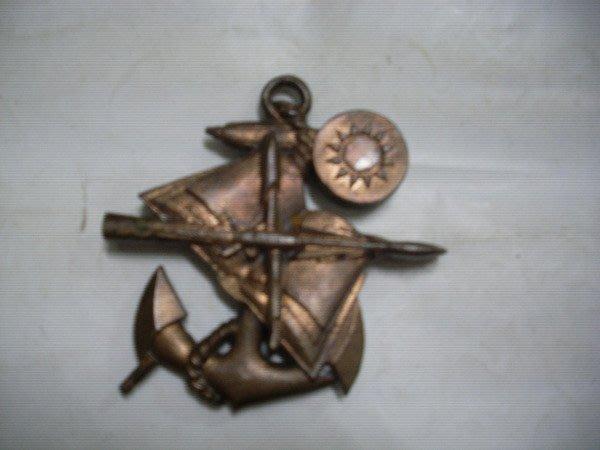 憶難忘書室☆早期不知名稱銅質海軍紀念物13*13公分共1個(網友告知是海軍教準部)