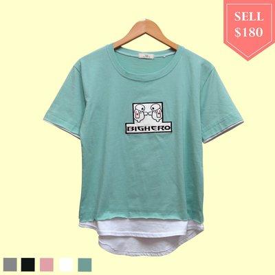 【棉花糖衣櫃】韓版大英雄天團 杯麵 貼布繡,圓領假二件短袖T恤《126》粉、果綠、黑、灰、白。滿499免運