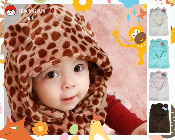 HH婦幼館 限定 寶寶超柔毛絨豹紋連帽圍脖 雙球小耳朵護耳帽 多款可挑 【2F195B10