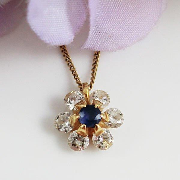 【JHT金宏總珠寶/GIA鑽石專賣】天然藍寶小花造型鑽石墜鍊 0.24克拉 ( JB21-B29 ) *