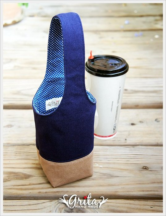 ♥grita's handmade♥手作環保飲料提袋/手搖杯/環保杯袋/隨身提包/帆布包—深藍+可可雙色(預購)
