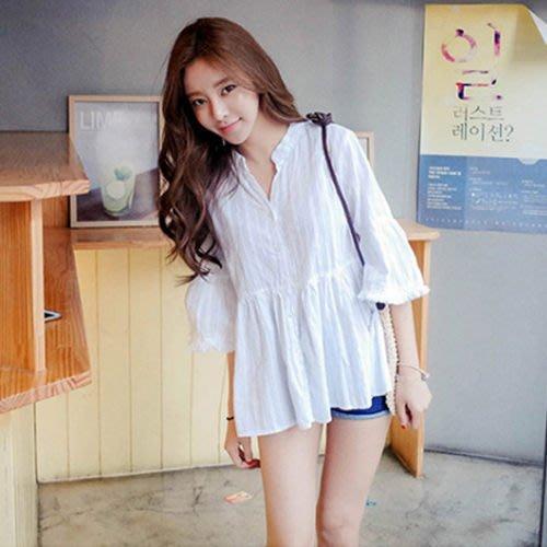 Elbeira 韓系寬鬆V領喇叭袖娃娃襯衫 / 上衣  【28384】