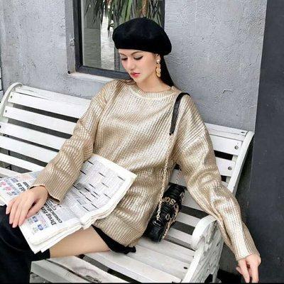 [ ohya梨花 ] =韩国带回=最新秋冬新款性感名媛性感穿搭金色烫金针织造型上衣