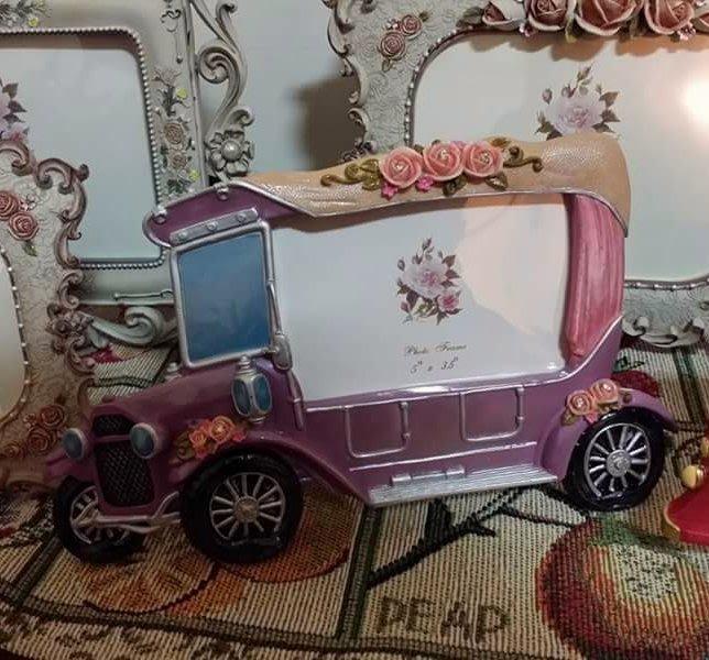 美生活館 全新 鄉村 古典 玫瑰花 車子造型 5 × 3.5相框 店面 拍照 婚紗照片 記憶保留 回憶-8