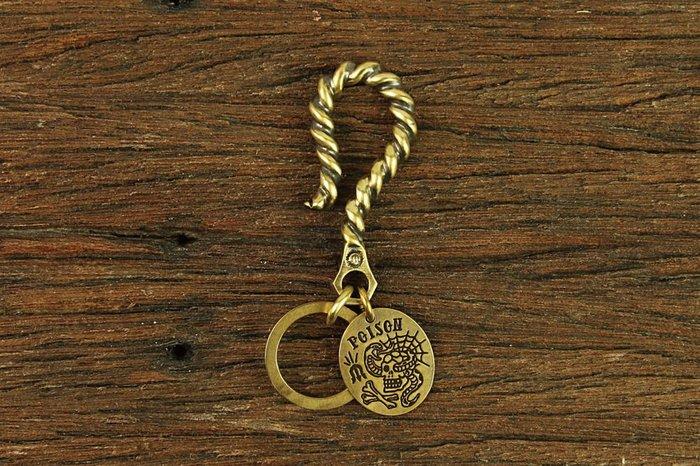 GOODFORIT / 台灣飾品品牌METALIZE POISON麻花大勾黃銅圓牌鑰匙圈