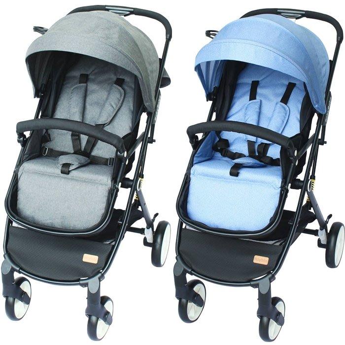 BabyBabe-嬰幼兒時尚旅行推車(亞麻灰/牛仔藍)S366