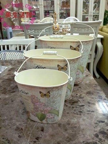OUTLET限量低價出清鄉村ZAKKA 雜貨風格-- MY LOVE 花草 橢圓水桶型 置物桶 /花器(三入一組)
