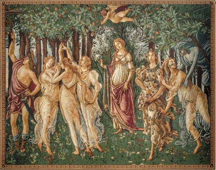 【波賽頓-歐洲古董拍賣】歐洲/西洋古董 意大利早期 19世紀 義大利波提切利春天(La Primavera)壁毯/掛毯(尺寸:137x96公分)