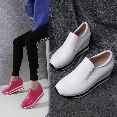 『Alice❤愛麗絲』秋冬季新款內增高真皮厚底松糕單鞋時尚休閒運動鞋女