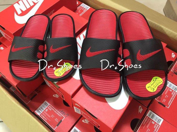 【Dr.Shoes】 Nike Benassi Solarsoft 黑紅 男款 男女鞋 軟