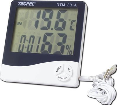 TECPEL 泰菱 》DTM-301A 室內外二用大型顯示溫濕度計/溫溼度計/溫度計