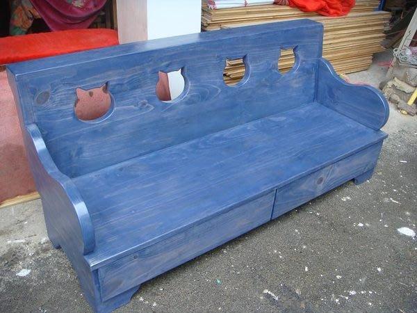 原木工坊~ 鄉村風家具設計訂作   貓咪三人收納沙發