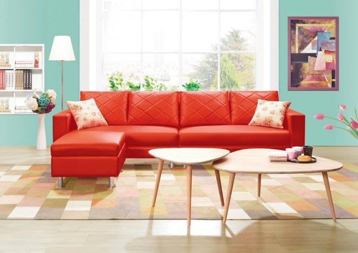 【DH】貨號 vc317-6名稱 《合藍》L型紅色皮沙發(圖一)台灣製可訂做.附抱枕.備有黑色可選.主要地區免運費