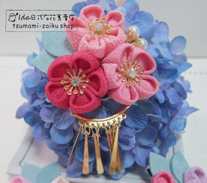 紅粉色 三花髮夾 金吊片日式布花 和風布花 和服髮飾 cosplay 和服 浴衣髮飾 F042