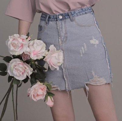 【黑店】歐美個性拚色牛仔短裙 刷破牛仔包臀短裙 高腰牛仔短裙 百搭休閒風 雙色拚色牛仔裙 EO118
