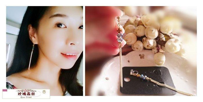 玫瑰森林-- ☆°* 美麗嚴選~氣質女人風格款 穿珠長流蘇 透明矽膠U夾 無耳洞耳環