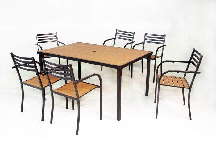 [兄弟牌戶外休閒傢俱] 塑木餐椅6張+塑木長方桌150x97cm/一桌六椅組~~餐飲營業或自用陽台公園,堅固耐久好維持。