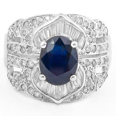 【JHT 金宏總珠寶/GIA鑽石專賣】2.06ct天然藍寶鑽石戒指/材質:18K(S00007)