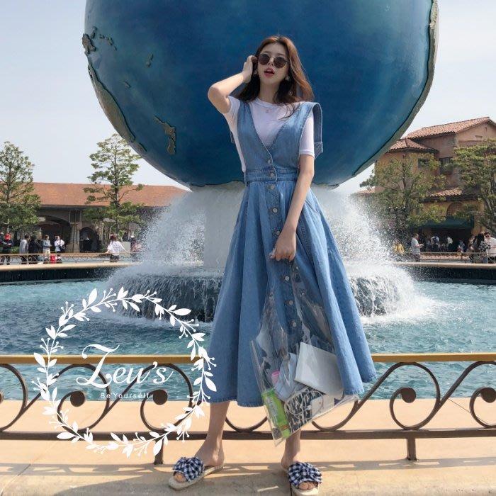 【ZEU'S】夏季復古風寬鬆吊帶牛仔裙『 07218801 』【現+預】GA