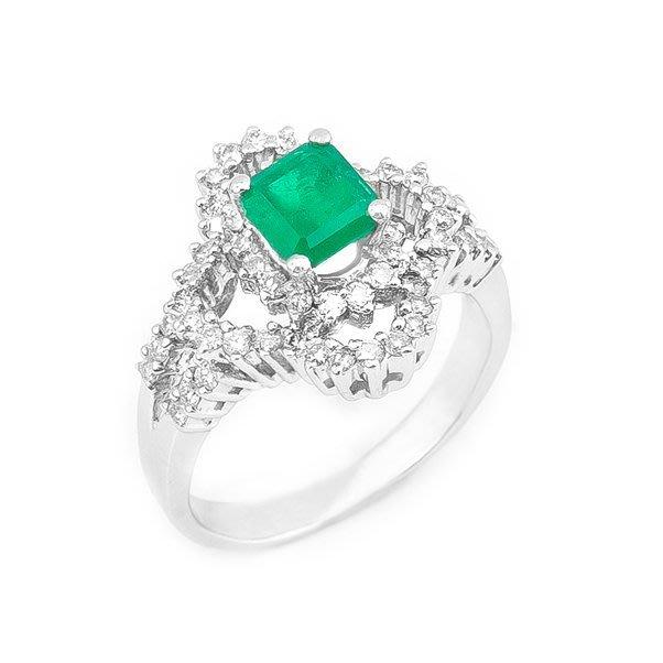 【JHT 金宏總珠寶/GIA鑽石專賣】0.89ct天然祖母綠鑽戒/材質:18K(E00014)
