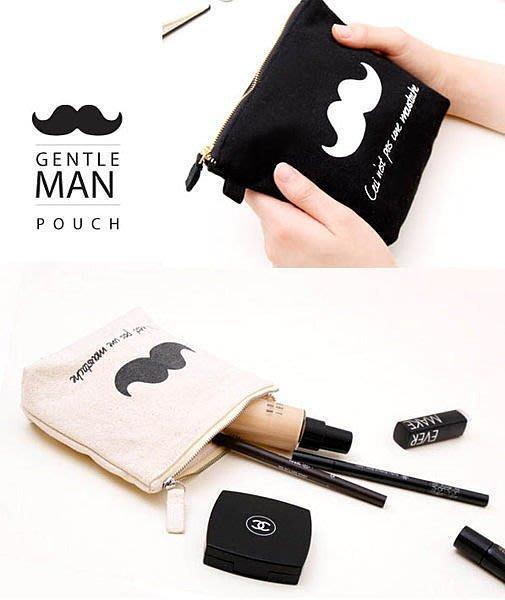 韓國熱銷 翹鬍子 大鬍子先生红唇 帆布 小收纳包/迷你化妝包/零錢包/ 衛生包