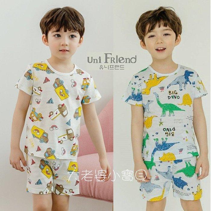 ❤ 大老婆小寶貝❤韓國 男童可愛圖案竹節棉短袖 套裝 居家服 睡衣 (90.100.110.120.130.140)