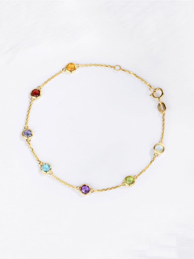 【馬格斯珠寶】五顆彩色寶石手鏈 彩色水晶手鏈 彩色手鏈 18k
