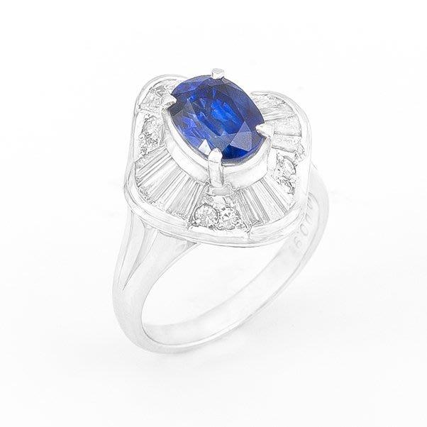 【JHT 金宏總珠寶/GIA鑽石專賣】2.10ct天然藍寶造型鑽戒/材質:PT900(JB29-A15)
