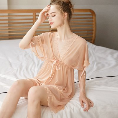 Y0597 性感睡衣女夏短袖睡裙透明薄紗蕾絲大碼成人火辣騷情趣內衣