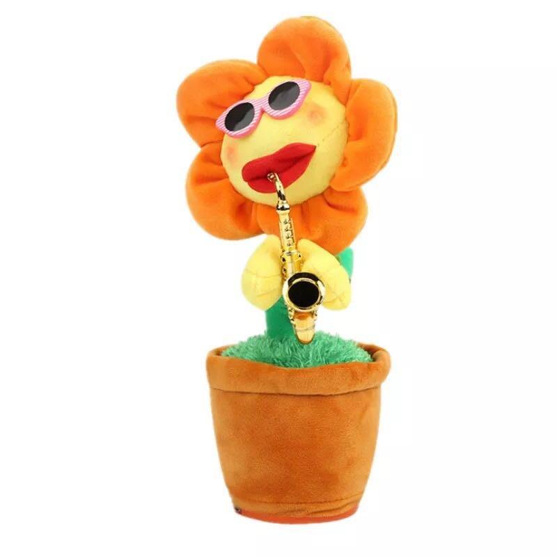 藍牙版妖嬈花 usb線唱歌跳舞的向日葵電動太陽花玩具生日禮物