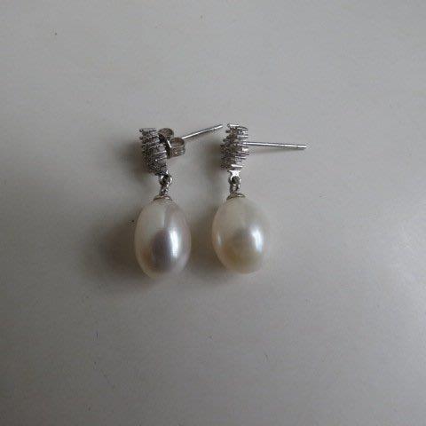 [ 廣緣-珍珠 ] (3) 925純銀天然珍珠耳環1對 ** 不議價 **