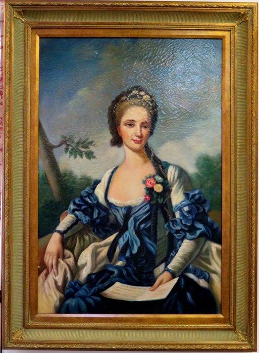 """【波賽頓-歐洲古董拍賣】歐洲/西洋古董 法國古董 19世紀 大型手繪人物油畫""""優雅的女士""""(尺寸:112 x 81cm)"""