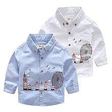 ✌✊✋NO.108童衣著 ⚽ 2色⚽ 風格 男童90~130cm純棉 英式圖案長袖襯衫長袖