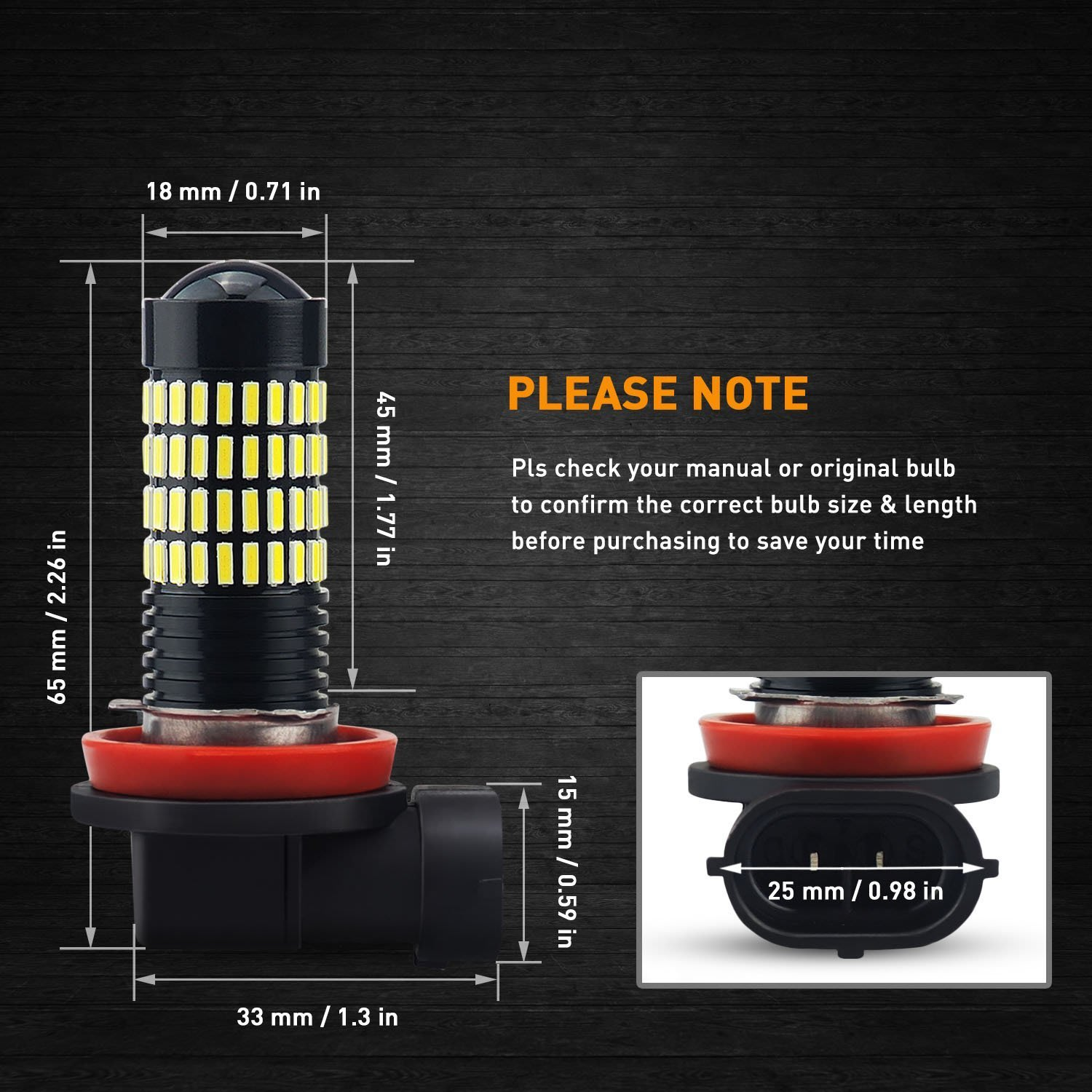 6000k H11 Fog Led Bright Auxito 4014 102 SMD Projector