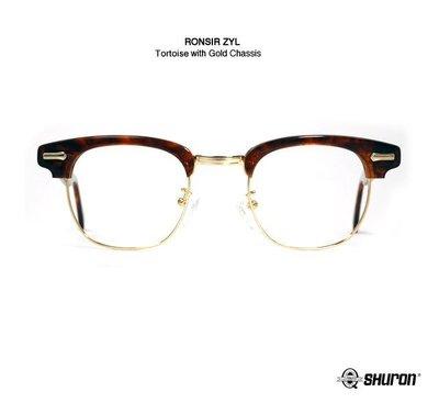 GOODFORIT / 美國百年SHURON RONSIR ZYL琥珀金經典月眉鏡框細款鏡架