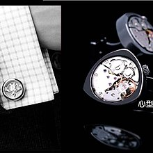 ~~╮玫瑰~誌~心型精鋼陀飛輪機芯機械手錶 盒裝 男士襯衣袖扣法式襯衫袖扣 袖釘 ,1組售