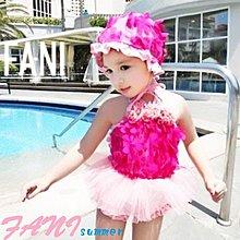 ~方妮FaNi~ ~立體花泳帽寶寶比基尼三件式兒童泳衣~三件組女童泳裝小孩泳裝 度假海灘沙