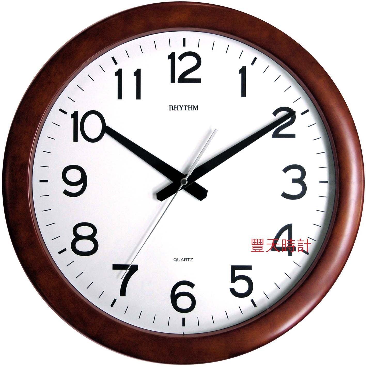 豐天時計【RHYTHM】日本 麗聲 RHYTHM 標準型 木框 靜音 時鐘 掛鐘 CMG919  CMG919NR06