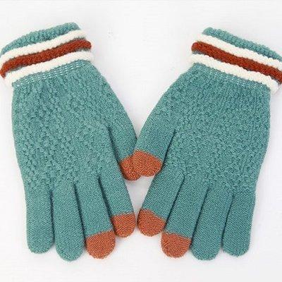 TOUCH-KR 三色毛線針織 超靈敏三指觸控手套 內刷毛保暖手套│三色│z6848