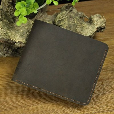 『老兵牛仔』LD029簡約復古做舊款瘋馬皮橫款錢包/真皮錢包/復古時尚/彈力/耐拉/個性