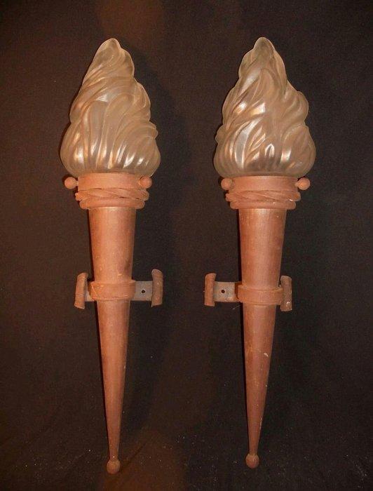 【波賽頓-歐洲古董拍賣】歐洲/西洋古董法國古董 拿破崙三世風格 火炬壁燈/燭台一對1燈(高度:62cm)