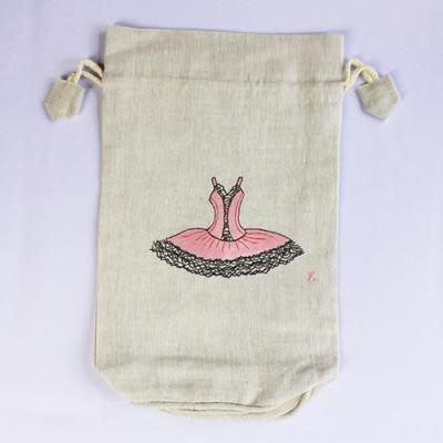 芭蕾小棧生日畢業表演禮物日本進口製造Zenma棉麻粉紅舞衣舞鞋中型圓底束口袋