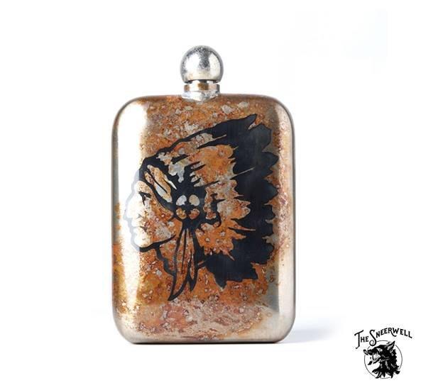 GOODFORIT / 美國The Sneerwell Chieftain Noble Flask老酋長古綠鏽手工酒壺